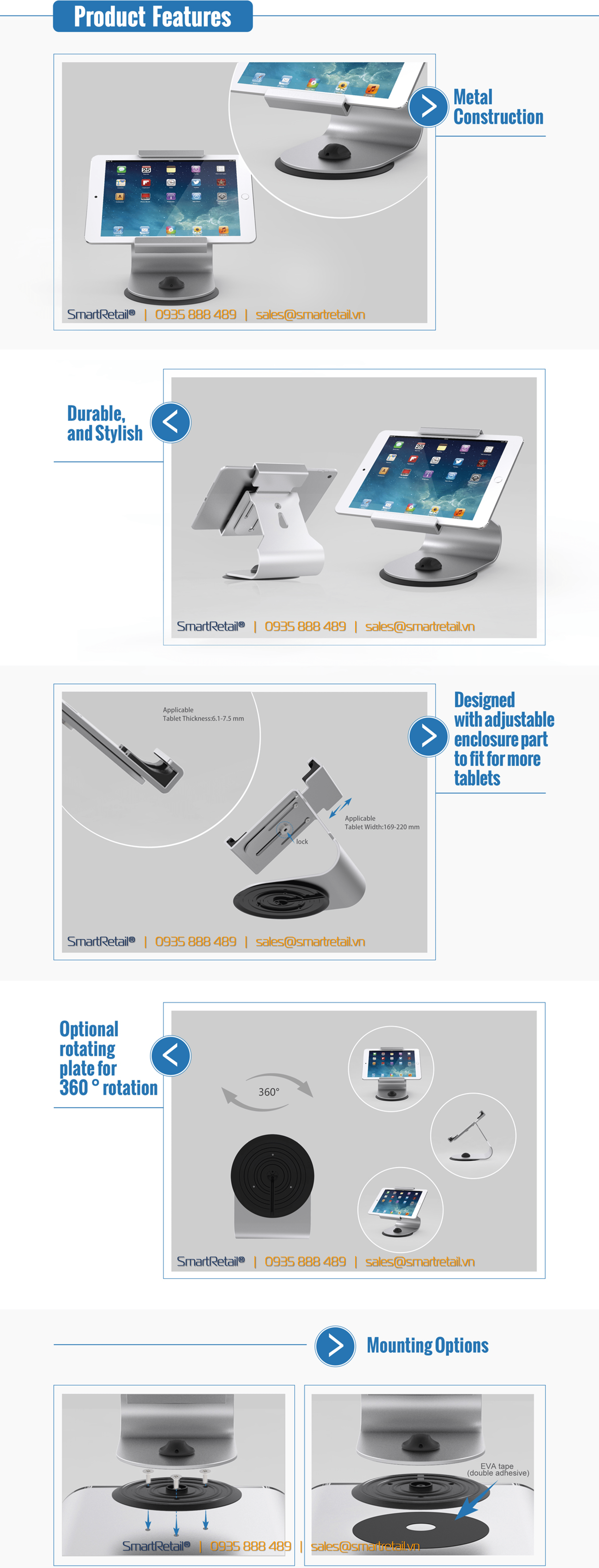 Giá đỡ máy tính bảng để bàn SC-105 - SmartRetail - 0935888489