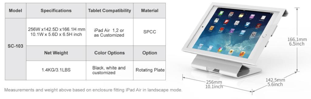 Thông số giá đỡ máy tính bảng SC-103 | SmartRetail - 0935888984