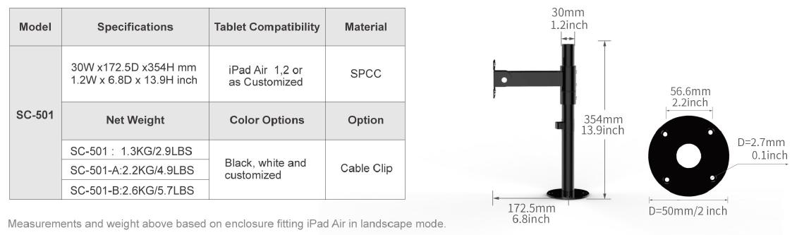 Thông số giá đỡ máy tính bảng để bàn SC-501