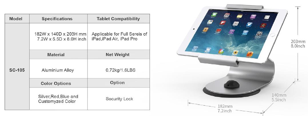 Thông số giá đỡ máy tính bảng để bàn SC-105