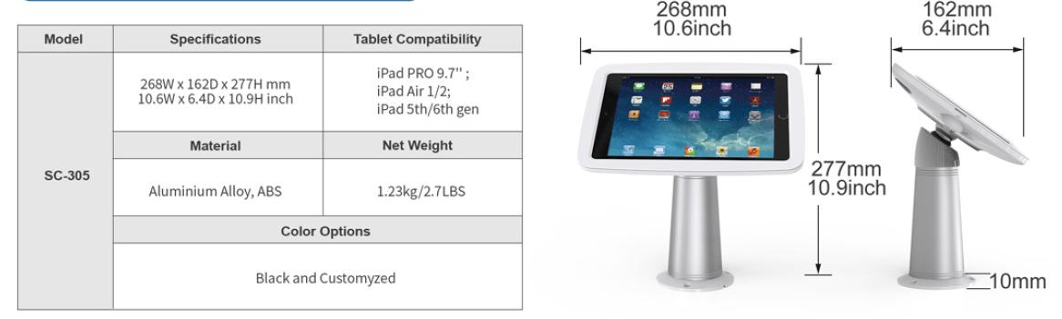 Thông số giá đỡ máy tính bảng xoay 360