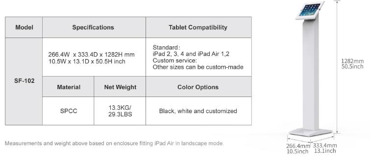 Kích thước Giá đỡ máy tính bảng SF-102 - SmartRetail - 0935888489