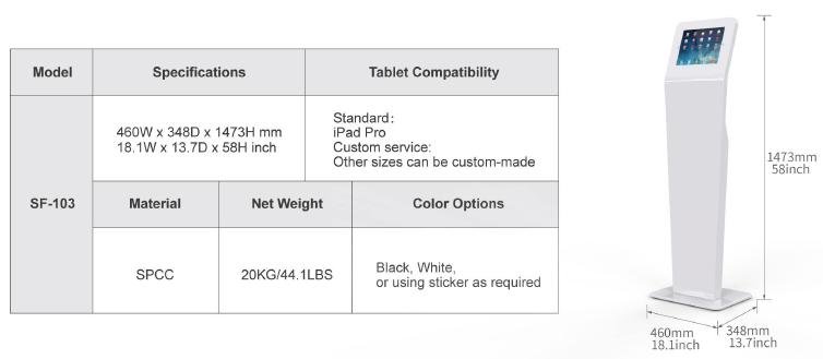 Kích thước Giá đỡ máy tính bảng chân đứng SF-103