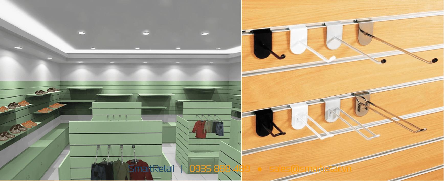 Cửa hàng Slatwall - Vật dụng thi công shop - SmartRetail - 0935888489