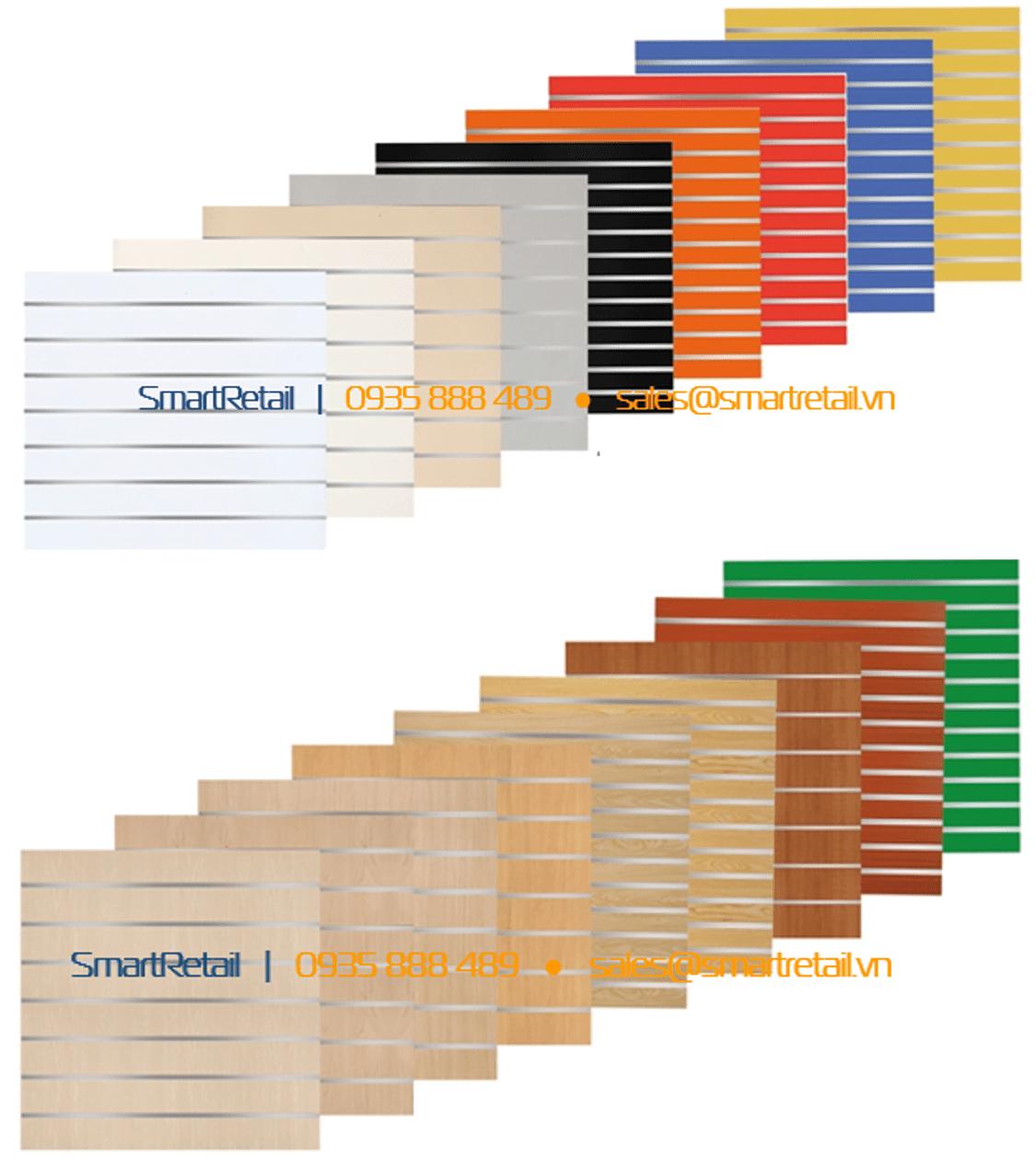Các loại màu tấm gỗ slatwall - Vật dụng thi công shop - SmartRetail - 0935888489