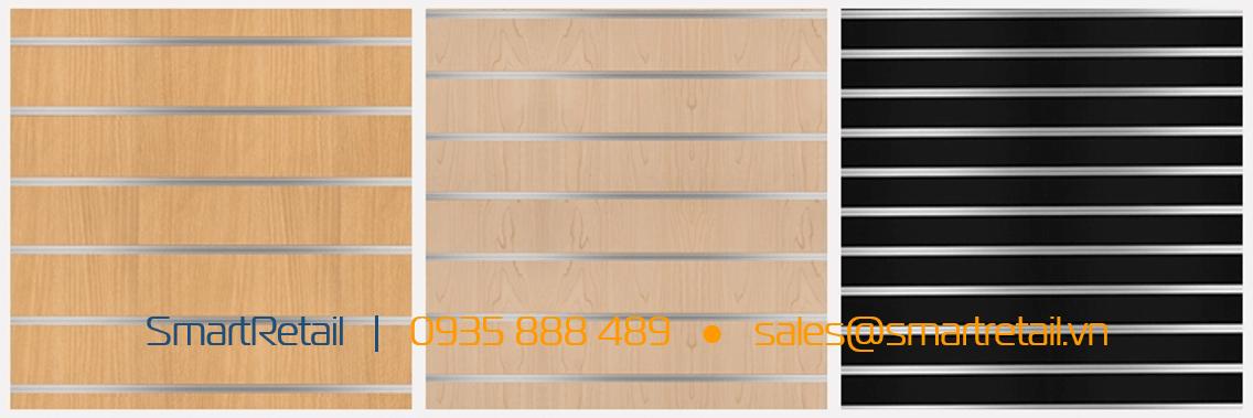 Rãnh gỗ slatwall MDF - Vật dụng thi công shop - SmartRetail - 0935888489