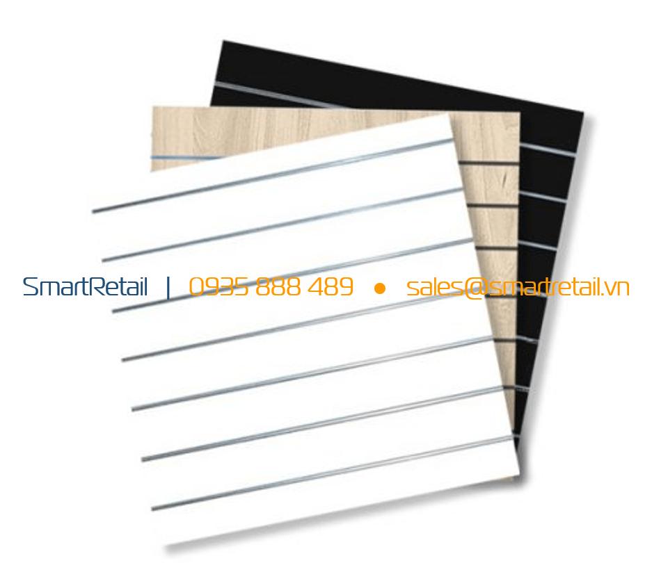 Tấm gỗ Slatwall MDF màu trắng - SmartRerail - 0935888489