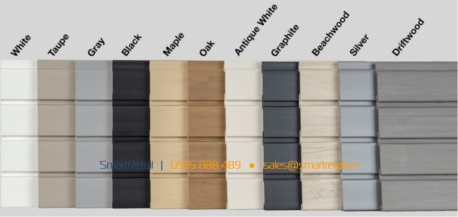 Các màu phổ biến của Tấm Slatwall PVC - SmartRetail - 0935888489