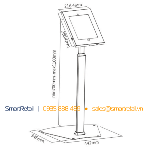 Thiết bị bảo vệ tablet chân đứng SR-FSL-02A - SmartRetail - 0935888489