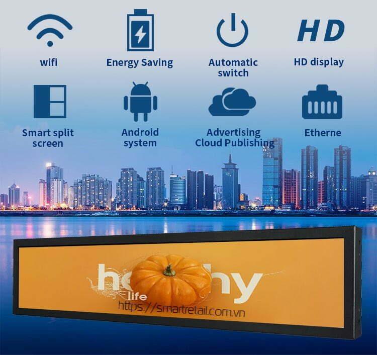 Màn hình LCD quảng cáo treo trên kệ trưng bày hàng hóa - SmartRetail