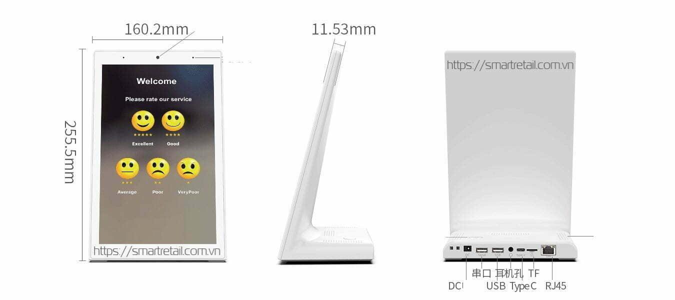 Màn hình cảm ứng để bàn đứng LG10V - Màn hình đứng IPS LCD 10.1 inch - SmartRetail